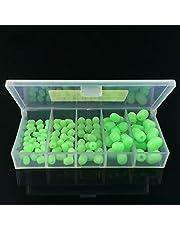 SODIAL 100 pcs Perles de peche lumineuses souples ovales Leurre de peche en mer Flottant Flotteur Plaques