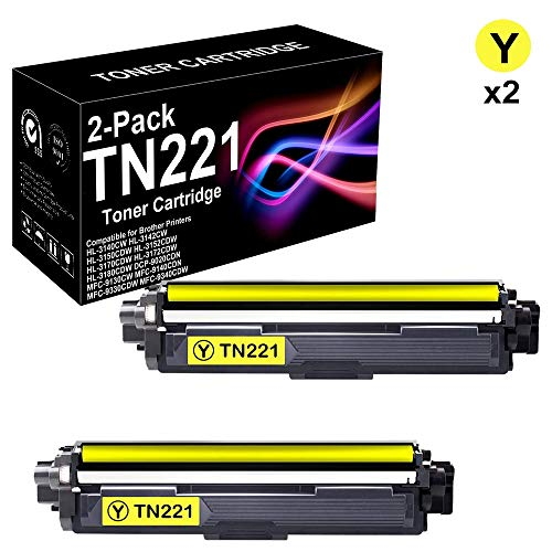 Compatible 2-Pack High Yield TN221 Printer Cartridge for Use in Brother HL-3150CDW Printer (Yellow), Sold by BUADCK