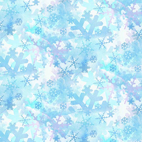 Blue Snowflakes Winter Holiday Snowman by Springs Creative 100% Cotton Fabric SC-69519 Sold by Yard
