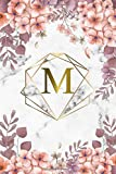 M: Trendy Rose Floral Monogram Initial Letter M Dot Grid Bullet Notebook for Women, Girls & School - Personalized Blank Journal & Diary with Dot Gridded Pages - Marble, Pink & Gold Abstract Diamond