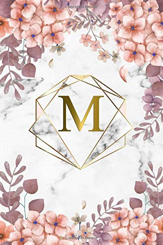 M: Trendy Rose Floral Monogram Initial Letter M Dot Grid Bullet Notebook for Women, Girls & School - Personalized Blank Journal & Diary with Dot Gridded Pages - Marble, Pink & Gold Abstract Diamond por Nifty Tree Journals,Papeterie Notebooks