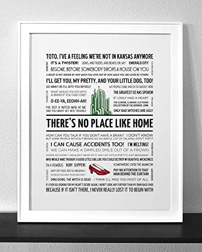 WIZARD OF OZ Typography & Quote Art Print (Frame not - Oz Scarecrow Wizard Quotes