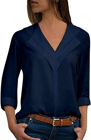 Yujeet Mujer Moda Cuello en V Mangas Largas Camisas Otoño ...