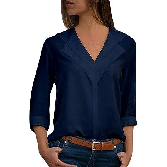 Yujeet Mujer Moda Cuello en V Mangas Largas Camisas Otoño Elegante Color Sólido Blusa Tops Azul
