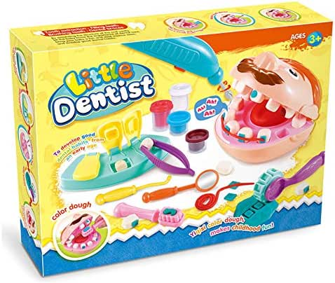 DIABO Dentist Kit with Color Clay for Kids Doctor Check Teeth Set Children Role Play Cosplay Medical Playset Education Toys for Boys Girls