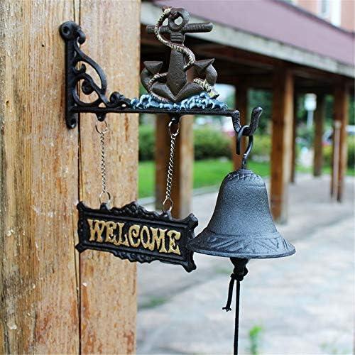 アンティークドアベル 鉄のドアのベル素朴なウォールは農家の庭と庭のために、フロントドアのベルディナーベルをマウント 鋳鉄の装飾的なドアベル (Color : Brass, Size : 27X25X10CM)