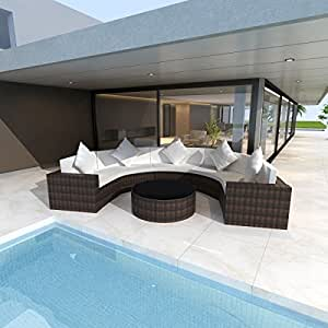 Outdoor Half Round Lounger Sectional Sofa, Rattan Wicker Patio Furniture, Brown