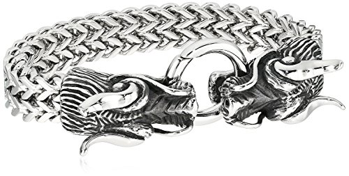 Double Bracelet Dragon - Crucible Jewelry Mens Polished Stainless Steel Twin Dragon Double Strand Franco Chain Bracelet (17mm), 8.5-Inch, White