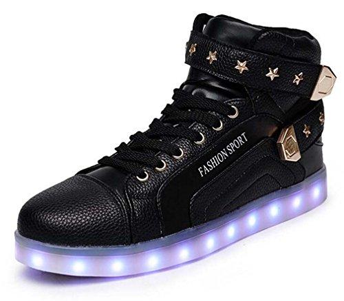 Littlepanda Mannen Vrouwen Hoge Top Usb Opladen Led Schoenen Knipperende Sneakers Black-star