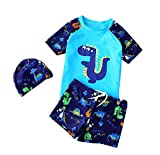 acefast inc toddler - Baby Boys Dinosaur Printed Swim Jumpsuit Little Boys Swimwear 3PCS Sets