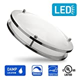 OSTWIN 18-inch LED Flush Mount Ceiling Light DR Series, 28w (150 Watt Equivalent), Dimmable, 4000K (Bright White), 2000 Lumens, Nickel Finish with Acrylic Shade, UL and Energy Star Listed