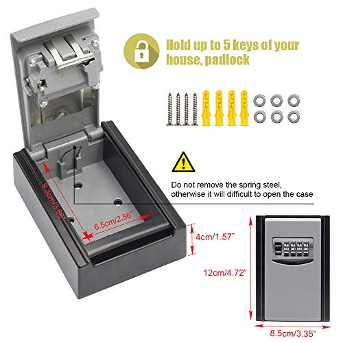 Key Lock Box, 4 Digit Combination Key Storage Lock Box, Wall Mounted Lock Box, Airbnb Key Safe Box - Resettable Code