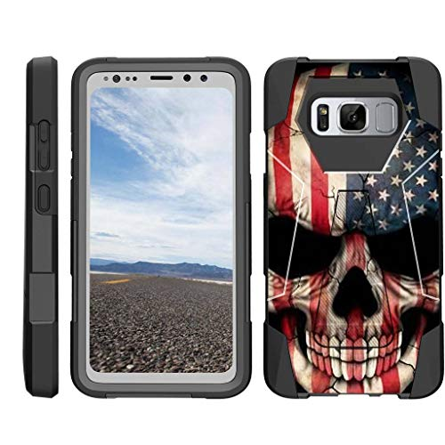 - TurtleArmor | Compatible with Samsung Galaxy S8 Active Case | G892 [Dynamic Shell] Hybrid Dual Layer Hard Shell Kickstand Silicone Case - US Flag Skull