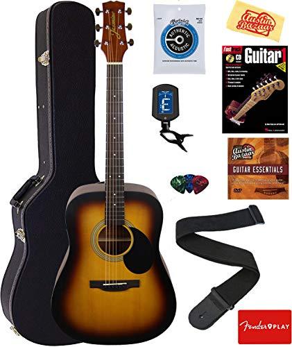 Jasmine S35 Acoustic Guitar – Matte Sunburst Bundle with Hard Case, Strings, Tuner, Strap, Picks, Instructional Book, DVD, and Austin Bazaar Polishing Cloth