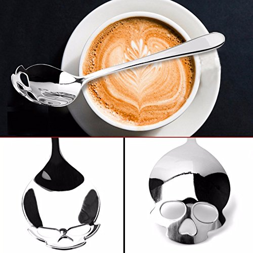 [Money coming shop Stainless coffee spoon Skull shape dessert spoon Food grade stainless ice cream candy tea spoon tableware free] (Sugar Skull Makeup Ideas)