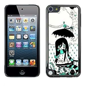 Be Good Phone Accessory // Dura Cáscara cubierta Protectora Caso Carcasa Funda de Protección para Apple iPod Touch 5 // Girl Umbrella Magic World Cartoon Drawing
