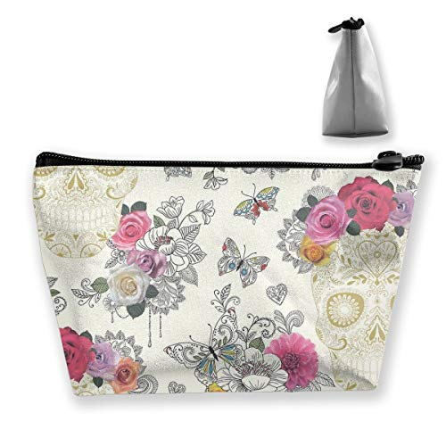 Makeup Bag Cosmetic Bag Travel Make Up Pouch Toiletry Case with Zippered Pocket for Women and Girls Butterfly Floral Sugar Skull