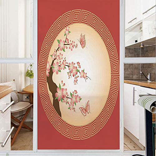 Decorative Window Film,No Glue Frosted Privacy Film,Stained Glass Door Film,Oriental Cherry Blossom with Butterflies in Circle Frame Ornamental Illustration,for Home & Office,23.6In. by 35.4In Pink Re
