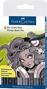 Faber-Castel PITT Artist Manga Pens, Shades of Gray, 8-Pack