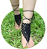 AlexStudio Foot Chain Barefoot Sandals Beach Shoes Foot Jewelry Yoga Chain Wedding Bridal Knit Anklet (Black)
