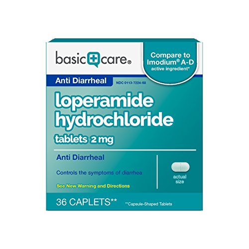 Basic Care Anti Diarrheal, Loperamide Hydrochloride Tablets 2 mg, 36 Count