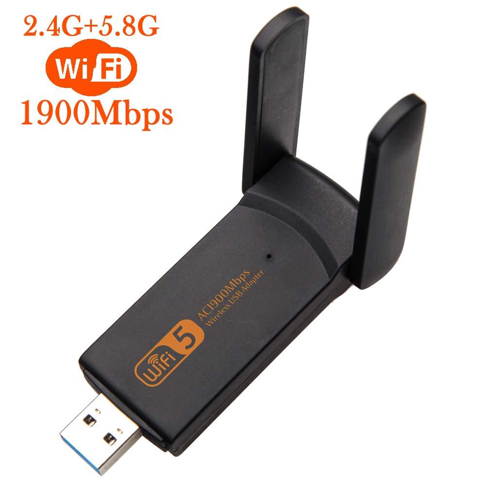 XVZ USB WiFi Adapter, 1900mbps Dual Band 2.4G/ 5G Wireless Adapter, Mini Wireless Network Card WiFi Dongle for Laptop/Desktop/PC, Support Windows10/8/8.1/7/Vista/XP/2000, Mac OS X 10.6-10.14 by XVZ