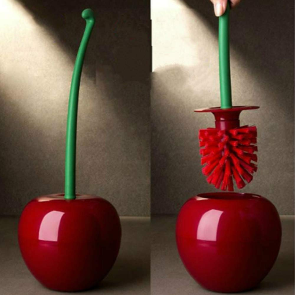 TAOtTAO Cherry Shape Clean Tool Toilet Bathroom Toilet Brush Cleaning Toilet Brush Bathroom Supply Tool (Red)