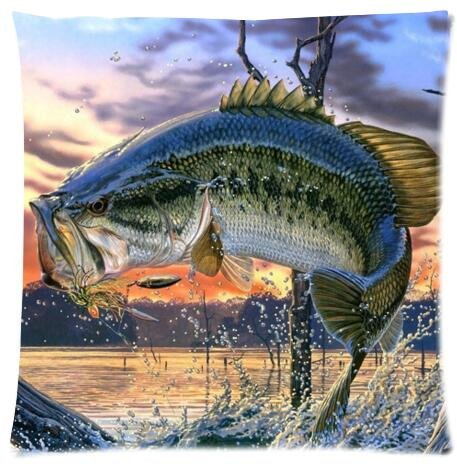 Adorable Pillow Cases Cushion Cover bass fish Pillowslip 18x18 inches Twin-sides Print funny Pillow Case