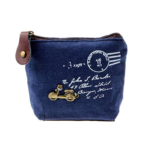 Girls Retro Coin Purse Wallet Clutch Zipper Wallet ID Card Handbag Phone Key Bag (Color - Blue #A)