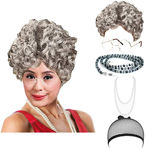 Women's Cosplay Costume Old Lady Wig, w/Round Glasses & Pearl Necklace Beads Costume Accessories for Dress up Perform (C3)]()