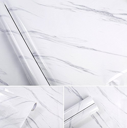 White Marble Contact Paper Gloss Vinyl Wrap For Kitchen Countertop Peel Stick Shelf Liners Decal 15.8inch by 79inch