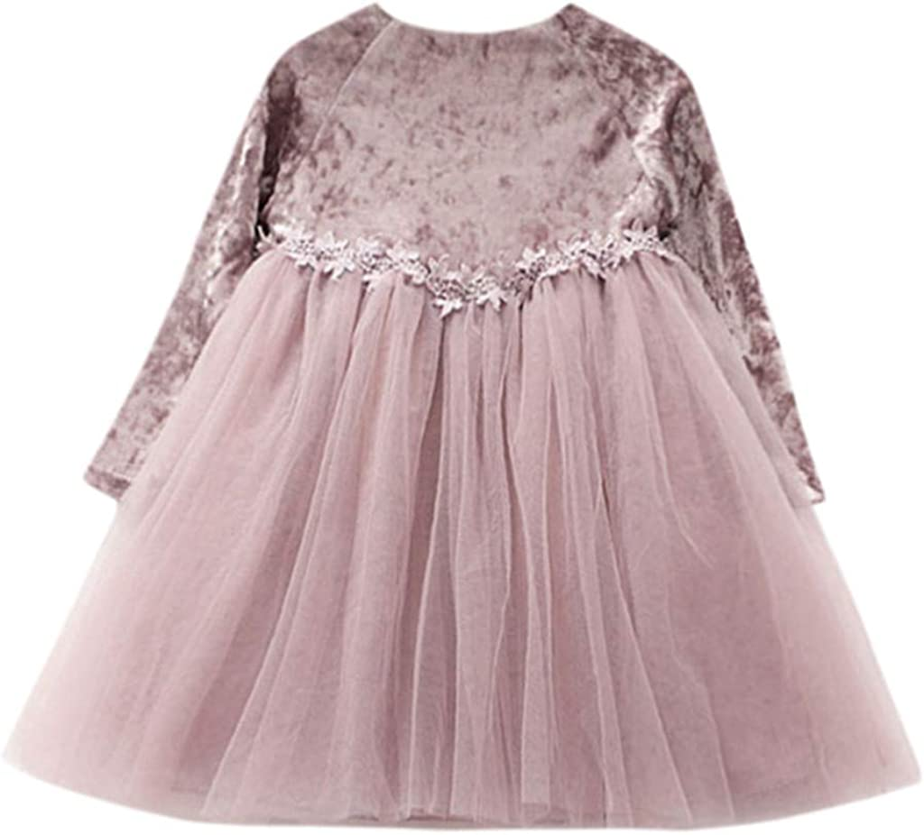 GUTTEAR Baby Girl Kids Clothes Long Sleeve Flower Children Princess Tulle Dress