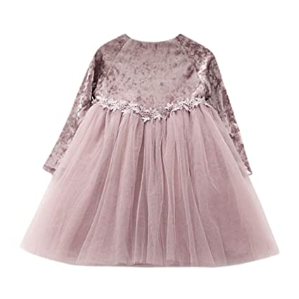45324d6d47a4 Amazon.com: Iuhan Baby Girls Jumper Dress for 0-6Years Girls - Toddler Baby Girl  Kids Clothes Long Sleeve Flower Children Princess Tulle Dress (2-3 Years,  ...