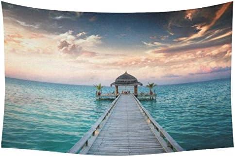 INTERESTPRINT Bule Ocean Waves Wall Art Home Decor, Idyllic Arbor on Water, Maldive Island Cotton Linen Tapestry Wall Hanging Art Sets 60 X 90 Inches
