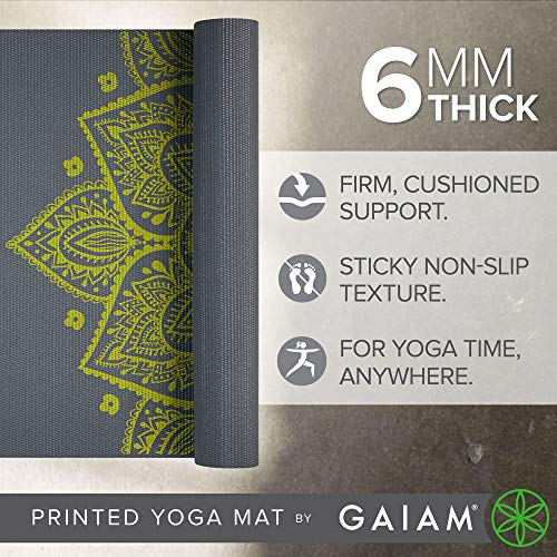 Gaiam Yoga Mat Premium Print Extra Thick Non Slip Exercise & Fitness Mat for All Types of Yoga, Pilates & Floor Exercises, Citron Sundial, 6mm