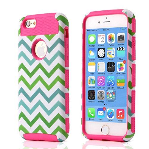 iPhone 6S hülle, Lantier Dual Layer Hybrid Luxury Fashion Shockproof Soft-Hard Case für das Apple iPhone 6, iPhone 6S Green White Blue Wave Stil Pink