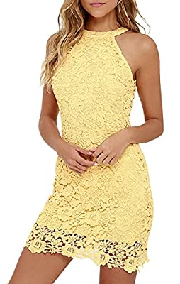 Berydress Women's Halter Neck Wedding Dress Midi Lace Party Cocktail Dress
