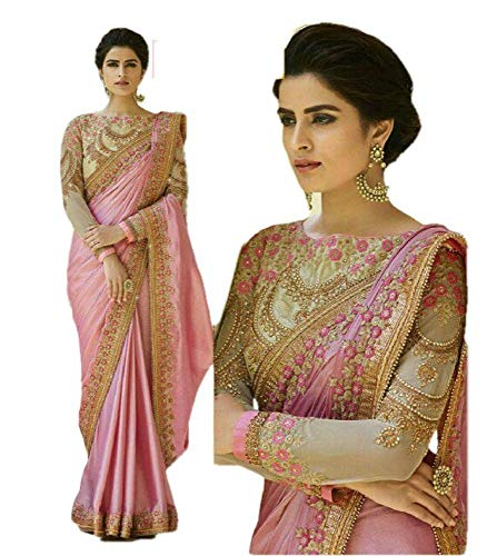 REKHA Ethnic Wear Indian Traditional Designer Saree with Embroidery Work Party Wear Sari 07