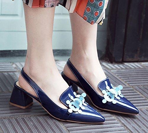 Aisun Femmes Fermé Bout Pointu Robe Slip Sur Empilés Talons Moyens Mode Sandales Slingback Bleu