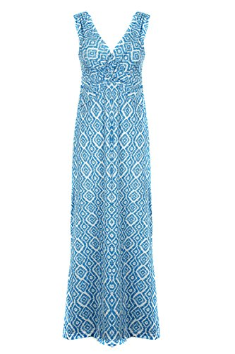 G2 Chic Women's Paradise Printed Patterned Holiday Casual Floral Dress(DRS-MAX,BLUA9-S) (G2 Chic Maxi Dress)