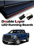 "MPH Auto 5.5"" Innovative Running Boards with LED Light Bars Pre-Installed Custom Fit 2009 2010 2011 2012 2013 2014 09-14 Ford F150 F-150 SuperCrew (Crew Cab) Black Side Step Bar (2 pcs) mj-033-r-l-s"