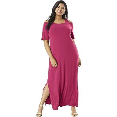 214039009caf9 Roamans Women s Plus Size Cold-Shoulder Maxi Dress at Amazon Women s ...