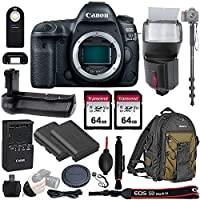 """Canon EOS 5D Mark IV Full Frame DSLR Camera Body - with Pro Battery Grip, TTL Flash, Canon Pro Backpack,128GB Memory, LP-E6N Replacement Battery, 72"""" Monopod, RC-6 Wireless Remote, and More. 19 Item"""