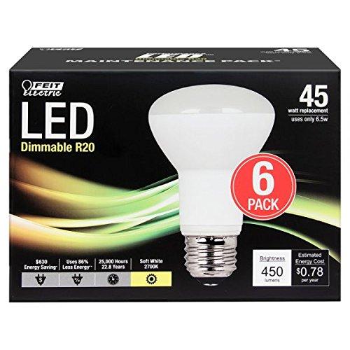 (Feit Electric 45 Watt Equivalent 450 Lumen 2700K Soft White Dimmable R20 LED Light Bulb (6 -)