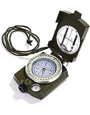 Compass Waterdicht Schokbestendig Wandelen Militaire Navigatie Kompas met Pouch Lanyard, Zink Legering Materiaal, Engels Gebruikershandleiding Inbegrepen (GRN)
