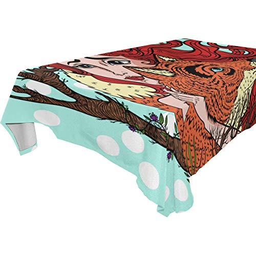 ZOMOY Decor Tablecloth Vector Clip Art Girl Fox Multicolor Rectangular Table Cover for Dining Room Kitchen Outdoor ()