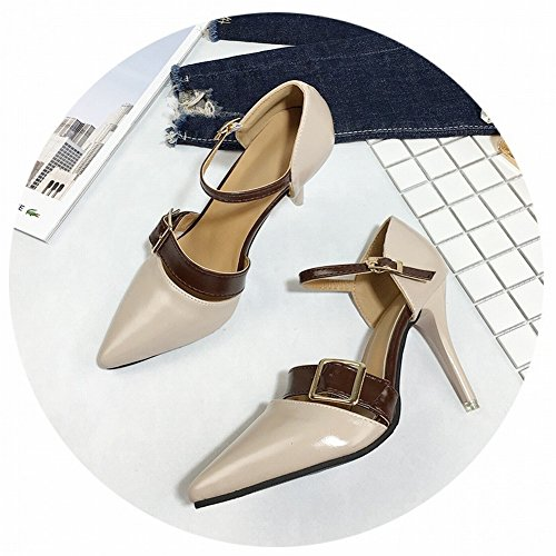 Buckle High 8 Heels Beige Shoes Female EUR35 Mouth Word cm brown Tip Hollow with Shallow XRAvUfnX