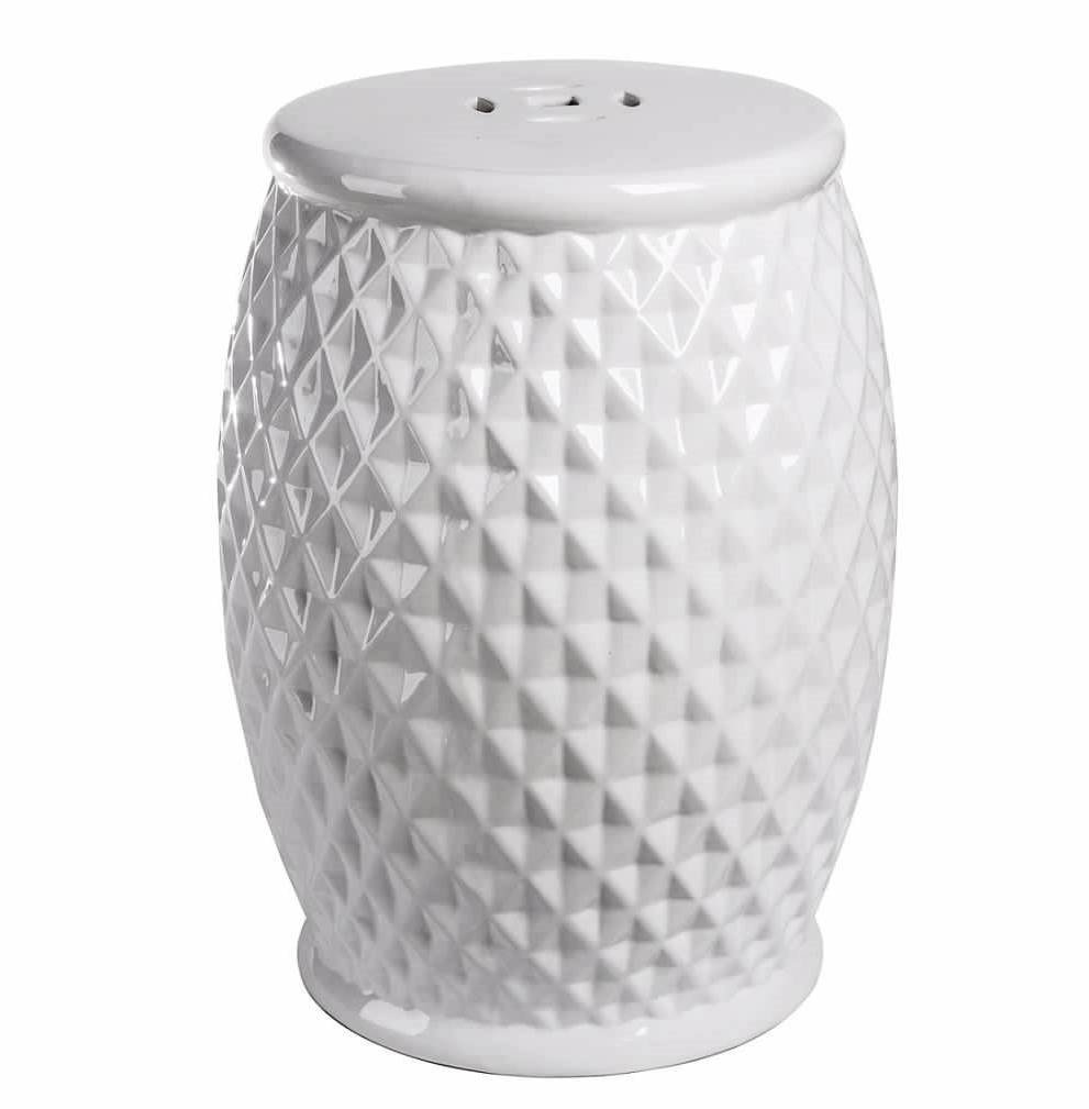 Abbyson® Angela Tufted Ceramic Garden Stool, White