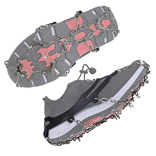 Grip Sport Silicone (LHIABNN Silicone Shoe Cover Ice Snow Grips,Stainless Steel Spikes Anti Slip Mountaineering Slip-on Stretch Footwear,Traction Cleats for Walking Jogging Hiking on Snow and Ice (B/Stainless Steel, L))
