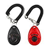 LaZimnInc Dog Training Clicker with Wrist Strap - Pet Training Clicker Set, 2-Pack(Red + Black)